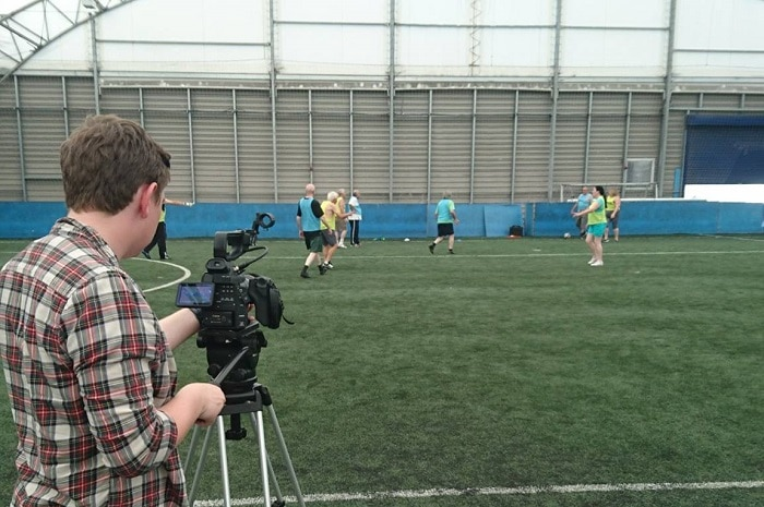 Filming of a football session