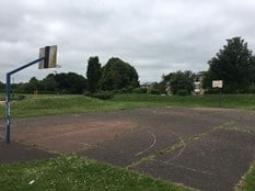 Old run down basketball court in Westwood and Ravensthorpe